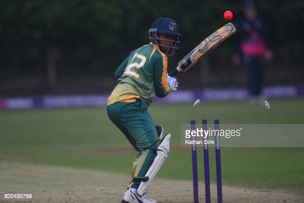 Kirby Legoabe of South Africa is bowled during the INAS Learning Disability TriSeries Trophy Final match between England and South Africa on July 21...