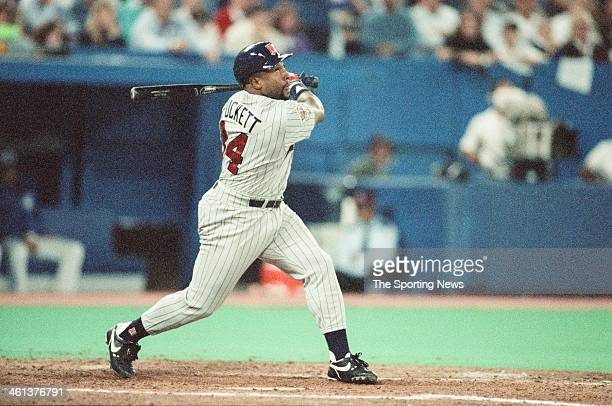 Kirby Puckett of the Minnesota Twins bats during the 1991 American League Championship Series against the Toronto Blue Jays at Hubert H Humphrey...