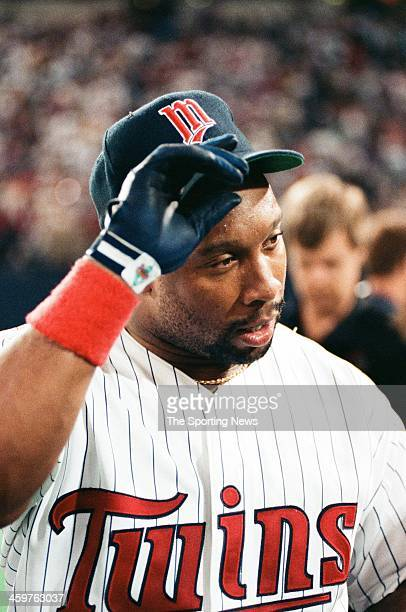 Kirby Puckett of the Minnesota Twins during a 1991 World Series game against the Atlanta Braves at the Hubert H Humphrey Metrodome in Minneapolis...