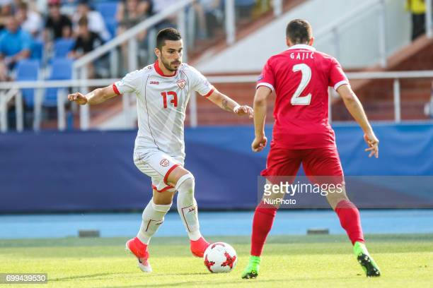 Kire Markoski Milan Gajic during the UEFA European Under21 Championship Group C match between Czech Republic and Italy at Tychy Stadium on June 21...