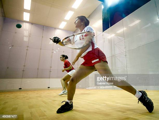 Kire Mendoza of Peru competes in the racquetball qualifiers as part of the XVII Bolivarian Games Trujillo 2013 at Villa Regional del Callao on...
