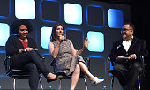 Kiri Hart SVP of Development and Kathleen Kennedy President of Lucasfilm and Pablo Hidalgo on stage during Future Directors panel at the Star Wars...
