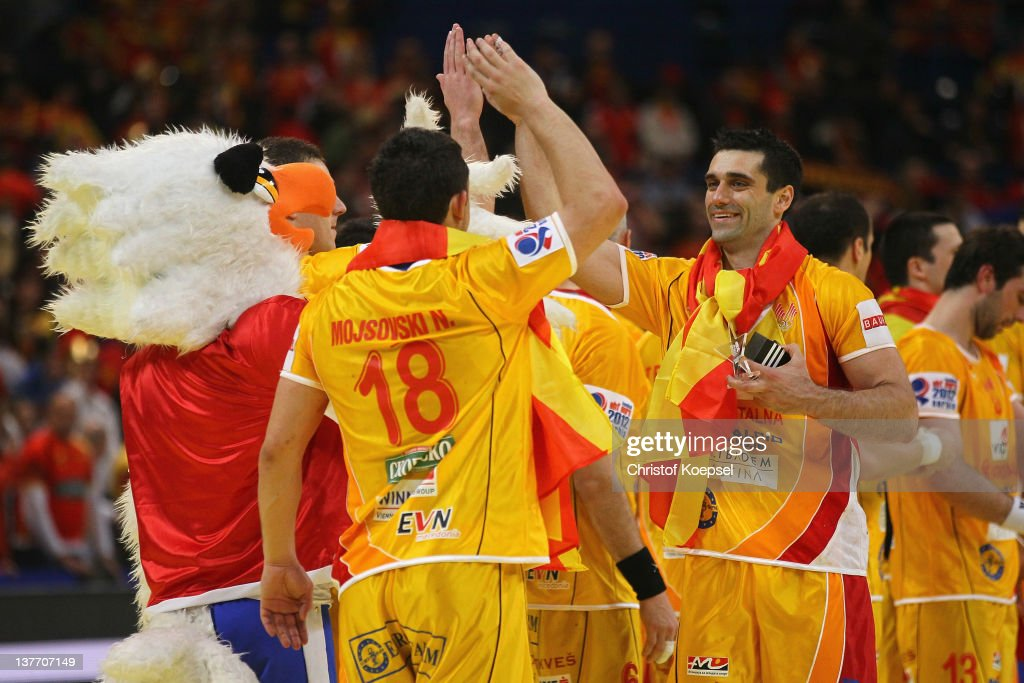 <a gi-track='captionPersonalityLinkClicked' href=/galleries/search?phrase=Kiril+Lazarov&family=editorial&specificpeople=3239733 ng-click='$event.stopPropagation()'>Kiril Lazarov</a> (R) of Macedonia celebrates the 22-19 victory after the Men's European Handball Championship second round group one match between Serbia and Macedonia at Beogradska Arena on January 25, 2012 in Belgrade, Serbia.