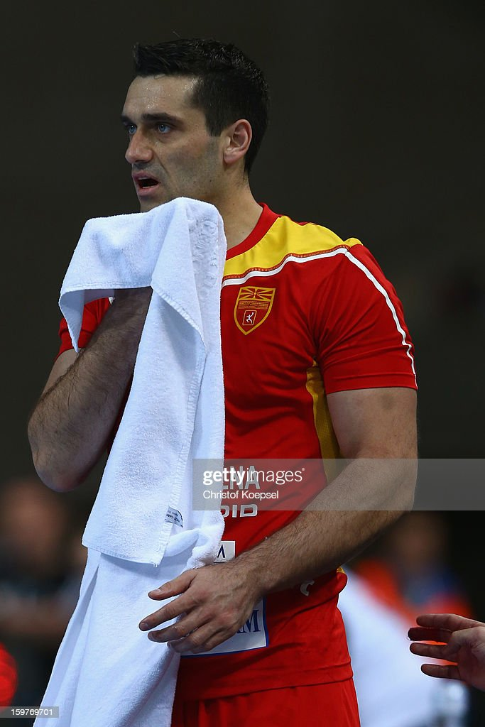 <a gi-track='captionPersonalityLinkClicked' href=/galleries/search?phrase=Kiril+Lazarov&family=editorial&specificpeople=3239733 ng-click='$event.stopPropagation()'>Kiril Lazarov</a> of Macedonia looks dejected during the round of sixteen match between Germany and Macedonia at Palau Sant Jordi on January 20, 2013 in Barcelona, Spain.