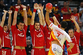 Kiril Lazarov of Macedonia throws against the polish wall during the Men's European Handball Championship second round group one match between Poland...