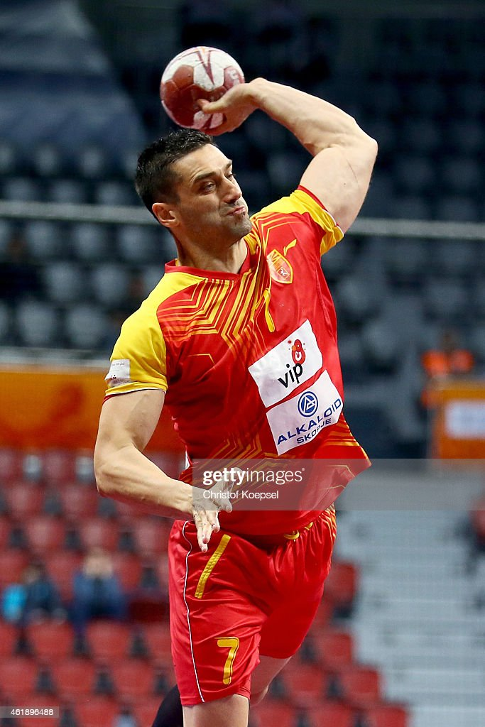 <a gi-track='captionPersonalityLinkClicked' href=/galleries/search?phrase=Kiril+Lazarov&family=editorial&specificpeople=3239733 ng-click='$event.stopPropagation()'>Kiril Lazarov</a> of Macedonia throws the ball during the IHF Men's Handball World Championship group B match between Macedonia and Croatia at Duhail Handball Sports Hall on January 21, 2015 in Doha, Qatar.
