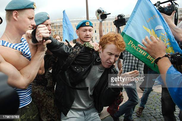 CONTENT] Kirill Kalugin a participant of a picket against homophobia was attacked by former paratroopers during a Russia Paratrooper day in St...