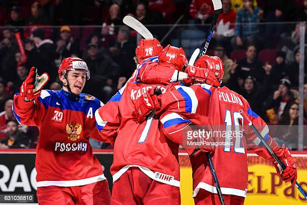 Kirill Kaprizov of Team Russia celebrates a goal with teammates during the 2017 IIHF World Junior Championship bronze medal game against Team Sweden...