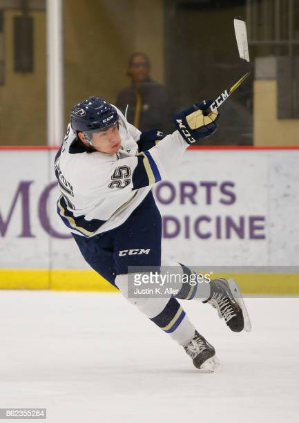 Kirill Panyukov of the Sioux Falls Stampede attempts a shot during the game against the Cedar Rapids RoughRiders on Day 2 of the USHL Fall Classic at...