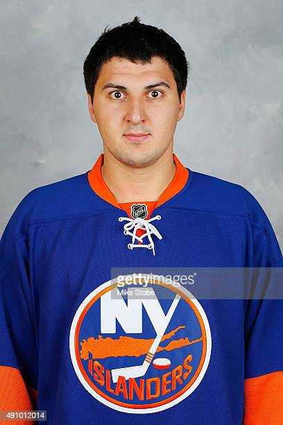 Kirill Petrov of the New York Islanders poses for his official headshot for the 20152016 season on September 17 2015 at the Nassau Coliseum in...