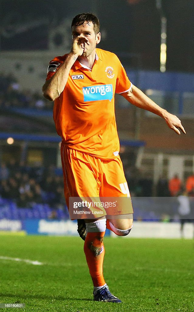 Kirk Broadfoot of Blackpool celebrates his goal during the npower Championship match between Birmingham City and Blackpool at St Andrews on March 5, 2013 in Birmingham, England.