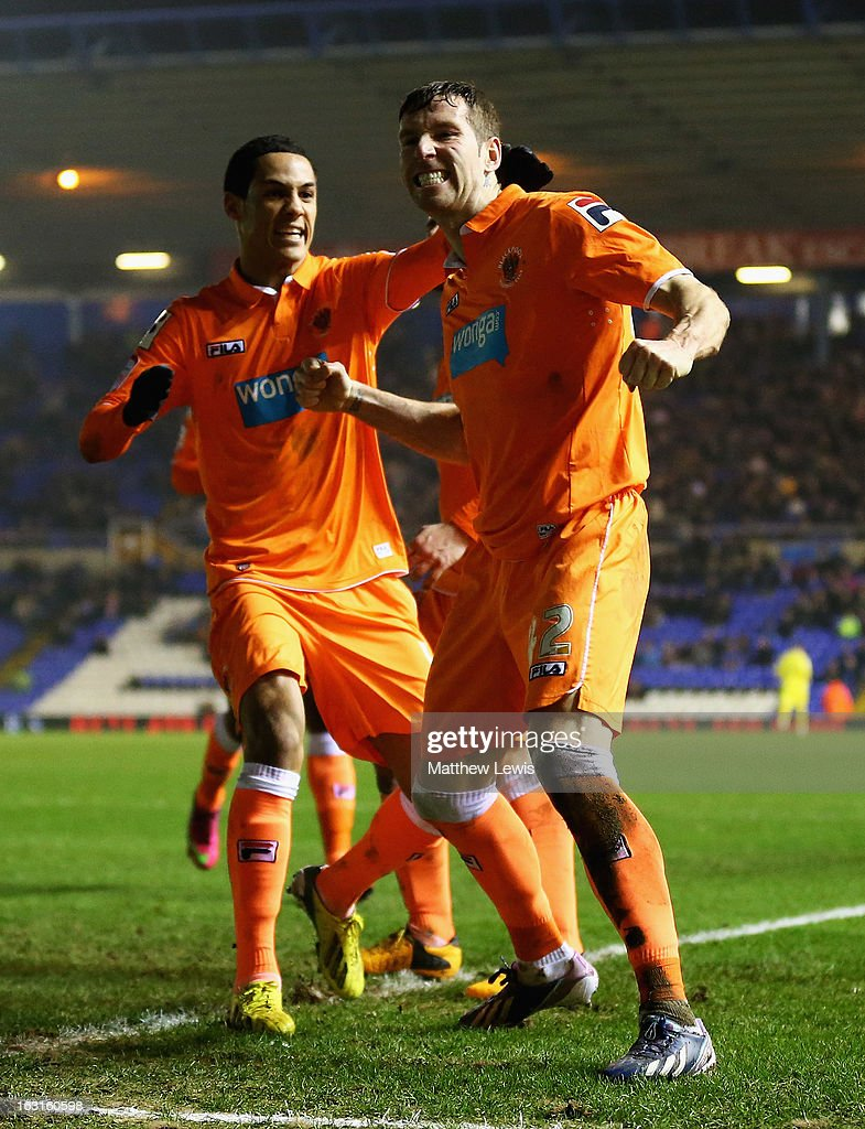 <a gi-track='captionPersonalityLinkClicked' href=/galleries/search?phrase=Kirk+Broadfoot&family=editorial&specificpeople=4143241 ng-click='$event.stopPropagation()'>Kirk Broadfoot</a> of Blackpool celebrates his goal with his team mates during the npower Championship match between Birmingham City and Blackpool at St Andrews on March 5, 2013 in Birmingham, England.
