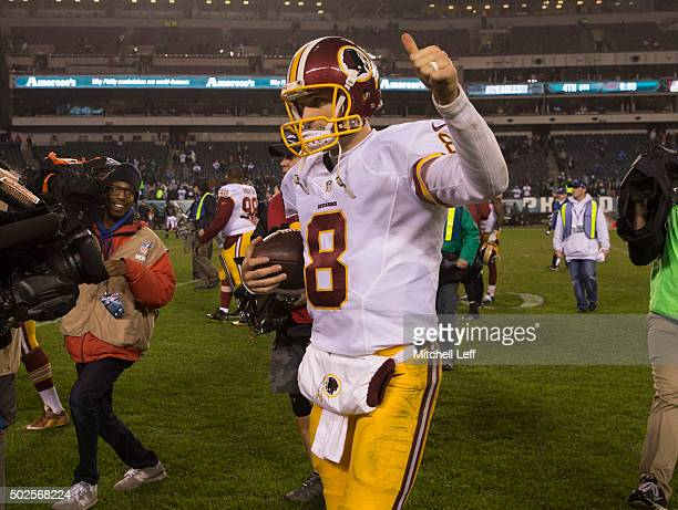 Kirk Cousins of the Washington Redskins celebrates at the end of the game against the Philadelphia Eagles on December 26 2015 at Lincoln Financial...