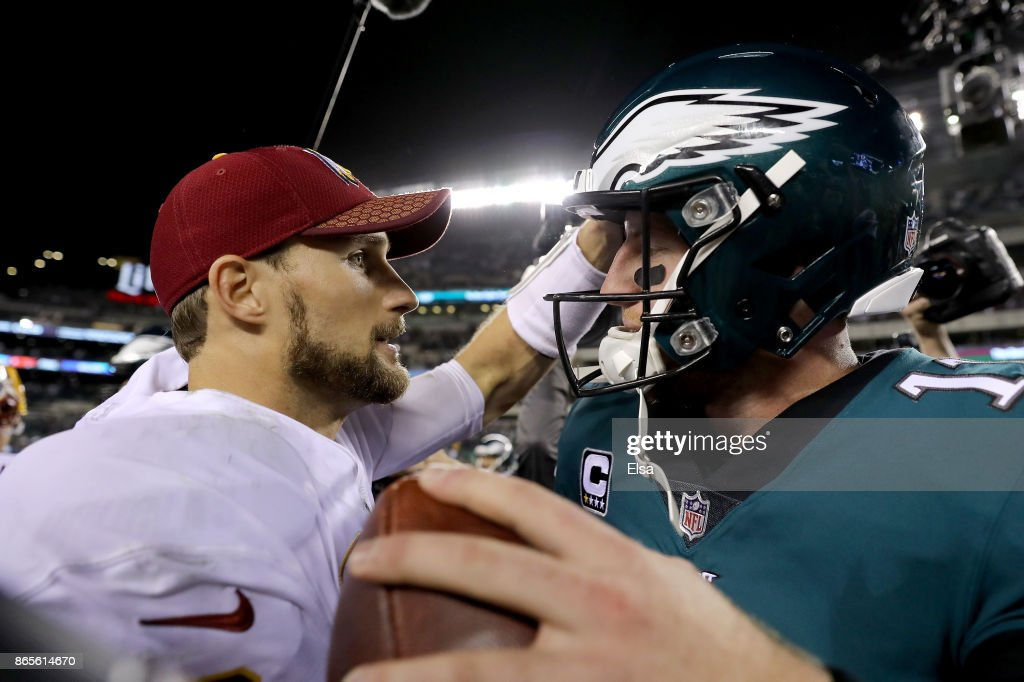 Kirk Cousins #8 of the Washington Redskins congratulates Carson Wentz #11 of the Philadelphia Eagles after the game on October 23, 2017 at Lincoln Financial Field in Philadelphia, Pennsylvania.The Philadelphia Eagles defeated the Washington Redskins 34-24.