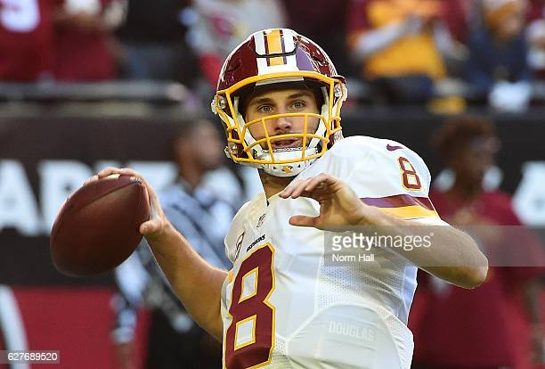 Kirk Cousins of the Washington Redskins warms up prior to a game against the Arizona Cardinals at University of Phoenix Stadium on December 4 2016 in...