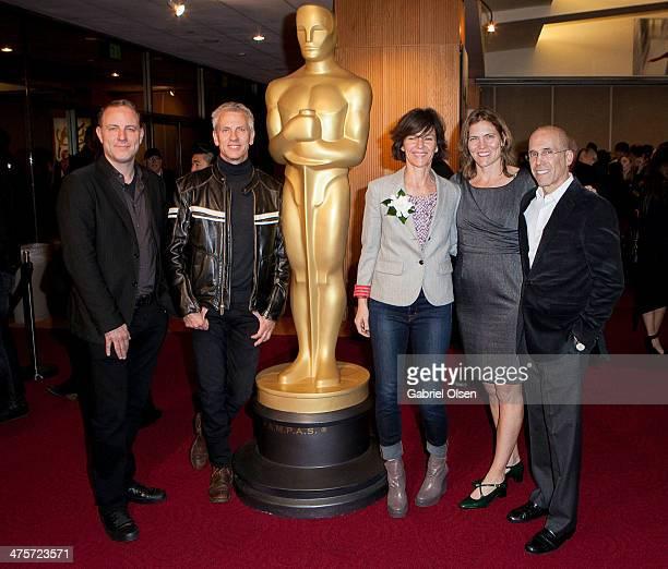 Kirk DeMicco Chris Sanders Kristine Belson Jane Hartwell and Jeffrey Katzenberg arrive for the 86th Annual Academy Awards Oscar Week Celebration of...