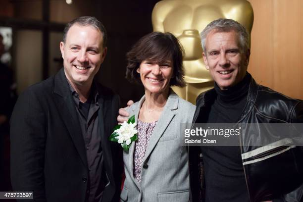 Kirk DeMicco Kristine Belson and and Chris Sanders arrive for the 86th Annual Academy Awards Oscar Week Celebration of Animated Features at AMPAS...