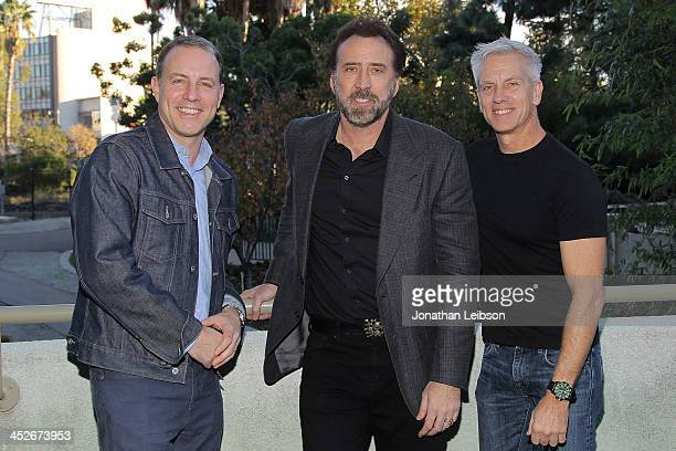 Kirk DeMicco Nicolas Cage and Chris Sanders attend the Film Independent At LACMA Screening And QA Of 'The Croods' at Bing Theatre At LACMA on...