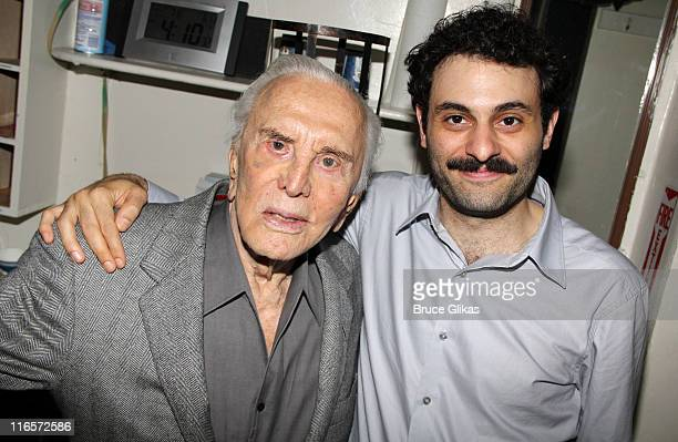Kirk Douglas and Arian Moayed pose backstage at the hit play 'Bengal Tiger at The Baghdad Zoo' on Broadway at The Richard Rogers Theater on June 15...