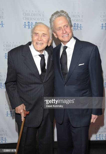 Kirk Douglas and Michael Douglas attend the 2011 Children of Chernobyl's Children at Heart gala at the Chelsea Piers on November 21 2011 in New York...