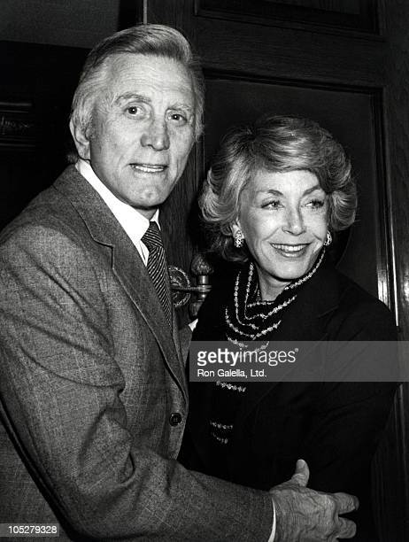 Kirk Douglas and wife during Kirk Douglas Dining at Chasens Restaurant March 2 1980 at Chasens Restaurant in Beverly Hills California United States