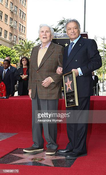 Kirk Douglas and Zubin Mehta at Zubin Mehta's star ceremony on Hollywood Walk of Fame on March 1 2011 in Hollywood California