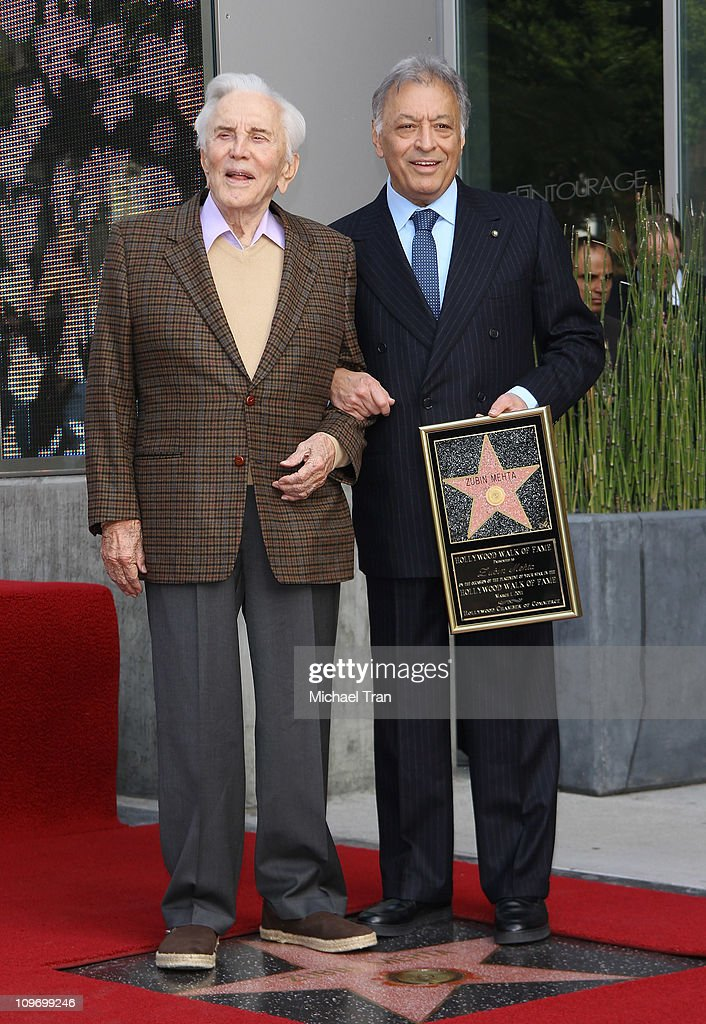 Kirk Douglas and Zubin Mehta attend the ceremony honoring Maestro Zubin Mehta with a Star on the Hollywood Walk of Fame on March 1, 2011 in Hollywood, California.