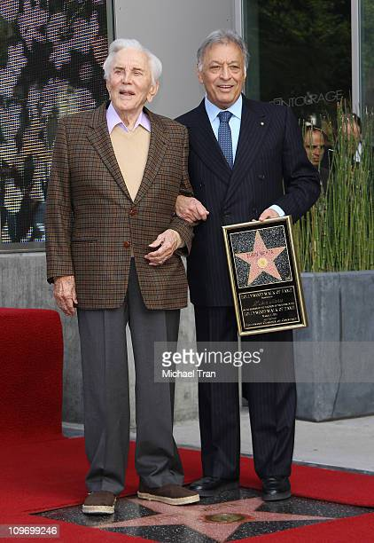 Kirk Douglas and Zubin Mehta attend the ceremony honoring Maestro Zubin Mehta with a Star on the Hollywood Walk of Fame on March 1 2011 in Hollywood...