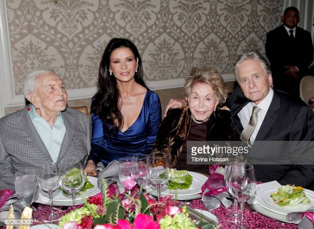 Kirk Douglas Catherine ZetaJones Anne Douglas and Michael Douglas attend the Los Angeles Mission Legacy of Vision Gala at Four Seasons Hotel Los...