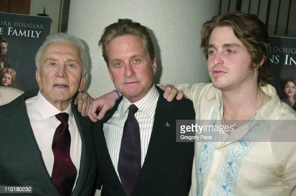 Kirk Douglas Michael Douglas and Cameron Douglas during It Runs In The Family New York Premiere at Loews Lincoln Square in New York New York United...