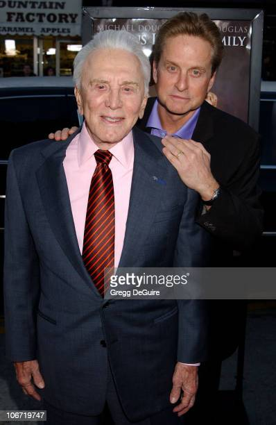 Kirk Douglas Michael Douglas during 'It Runs In The Family' Premiere Arrivals at Mann Bruin Theatre in Westwood California United States