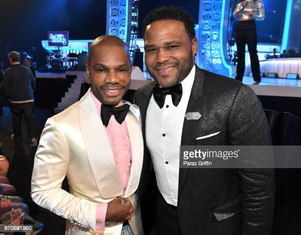 Kirk Franklin and Anthony Anderson attend the 2017 Soul Train Awards presented by BET at the Orleans Arena on November 5 2017 in Las Vegas Nevada