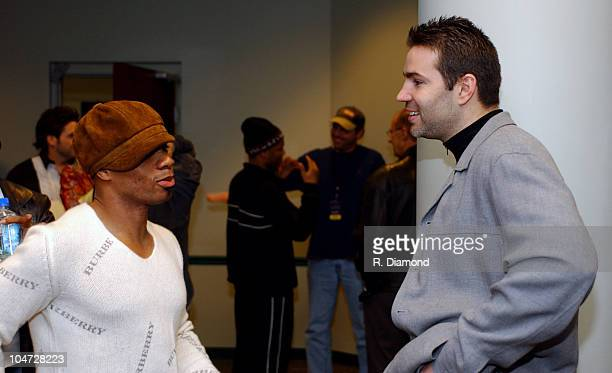 Kirk Franklin and Kurt Warner during The 34th Annual Dove Awards Backstage at The Gaylord Center in Nashville Tennessee United States