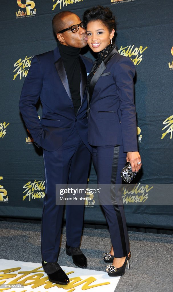 Kirk Franklin and wife Tammy Collins attend the 28th Annual Stellar Awards at Grand Ole Opry House on January 19, 2013 in Nashville, Tennessee.