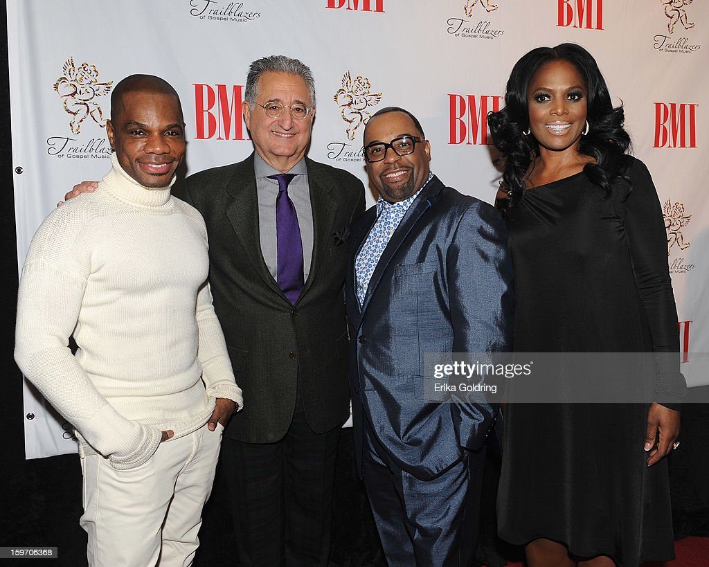 <a gi-track='captionPersonalityLinkClicked' href=/galleries/search?phrase=Kirk+Franklin&family=editorial&specificpeople=779291 ng-click='$event.stopPropagation()'>Kirk Franklin</a>, BMI's <a gi-track='captionPersonalityLinkClicked' href=/galleries/search?phrase=Del+Bryant&family=editorial&specificpeople=239201 ng-click='$event.stopPropagation()'>Del Bryant</a>, Kurt Carr and BMI's Catherine Brewton attend the 14th annual BMI Trailblazers of Gospel Music Awards at Rocketown on January 18, 2013 in Nashville, Tennessee.