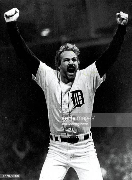 Kirk Gibson of Detroit Tigers celebrates after he hit his second home run of the game in Game Five of the 1984 World Series against the San Diego...