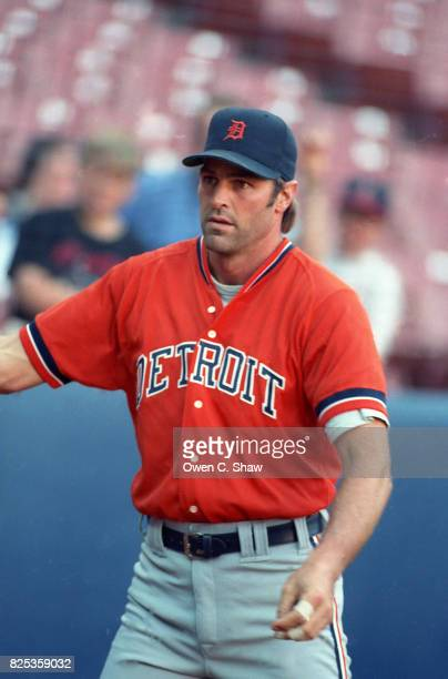 Kirk Gibson of the Detroit Tigers prepares to bat against the California Angels at the Big A circa 1992 in Anaheim California