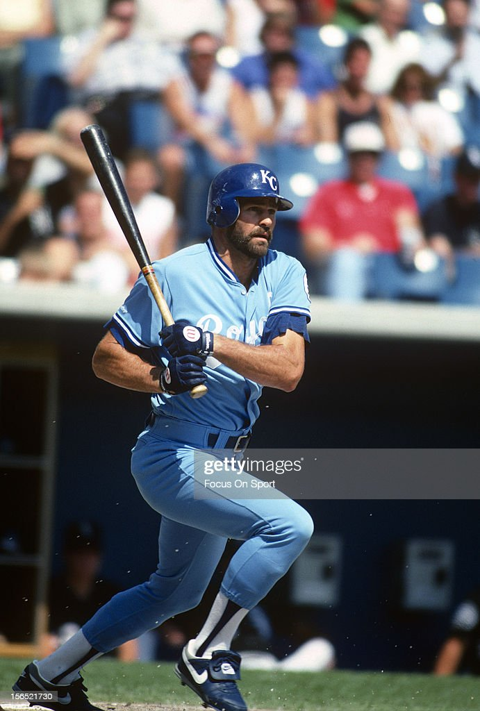 Kirk Gibson #23 of the Kansas City Royals bats against the Chicago White Sox during an Major League Baseball game circa 1991 at Comiskey Park in Chicago, Illinois. Gibson played for the Royals in 1991.