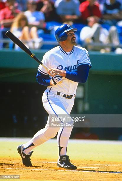 Kirk Gibson of the Kansas City Royals bats during an Major League Baseball game circa 1991 at Kauffman Stadium in Kansas City Missouri Gibson played...