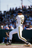 Kirk Gibson of the Pittsburgh Pirates bats during an Major League Baseball spring training game circa 1992 at McKechnie Field in Fort Myers Florida...