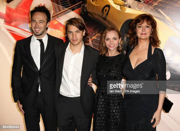Kirk Gurry Emile Hirsch Christina Ricci and Susan Sarandon arrive for the UK premiere of Speed Racer at the Empire Leicester Square London WC2