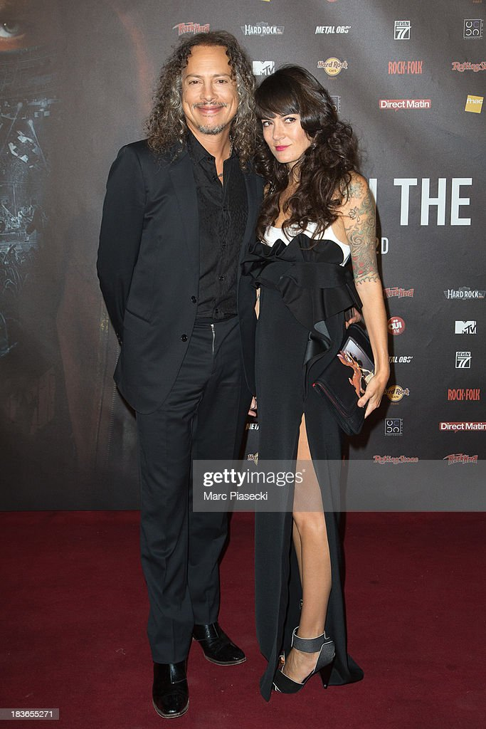 Kirk Hammet and wife Lani Hammet attend the 'Metallica Through The Never' Paris Premiere at Le Grand Rex on October 8 2013 in Paris France