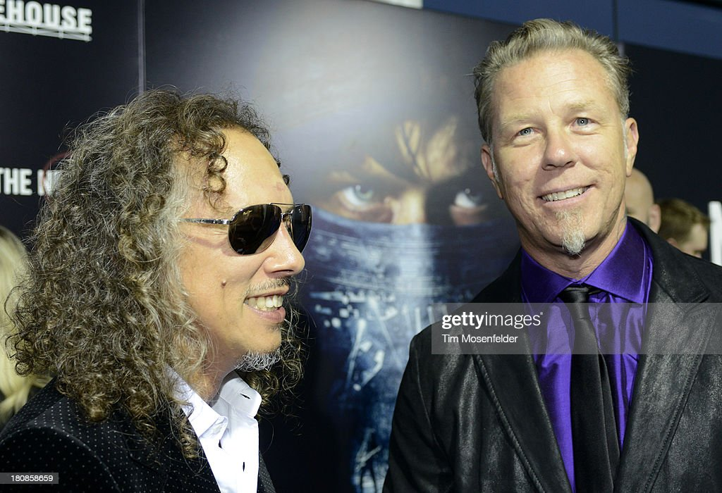 Kirk Hammett (L) and James Hetfield of Metallica attend the U.S. Premiere of Metallica Through The Never at the AMC Metreon on September 16, 2013 in San Francisco, California.