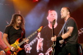 Kirk Hammett and James Hetfield of Metallica during Rock In Rio Lisboa Day 4 at Belavista Park in Lisbon Belavista Park Portugal