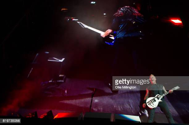 Kirk Hammett and James Hetfield of Metallica perform live on stage headlining Day 9 of the 50th Festival D'ete De Quebec on the Main Stage at the...