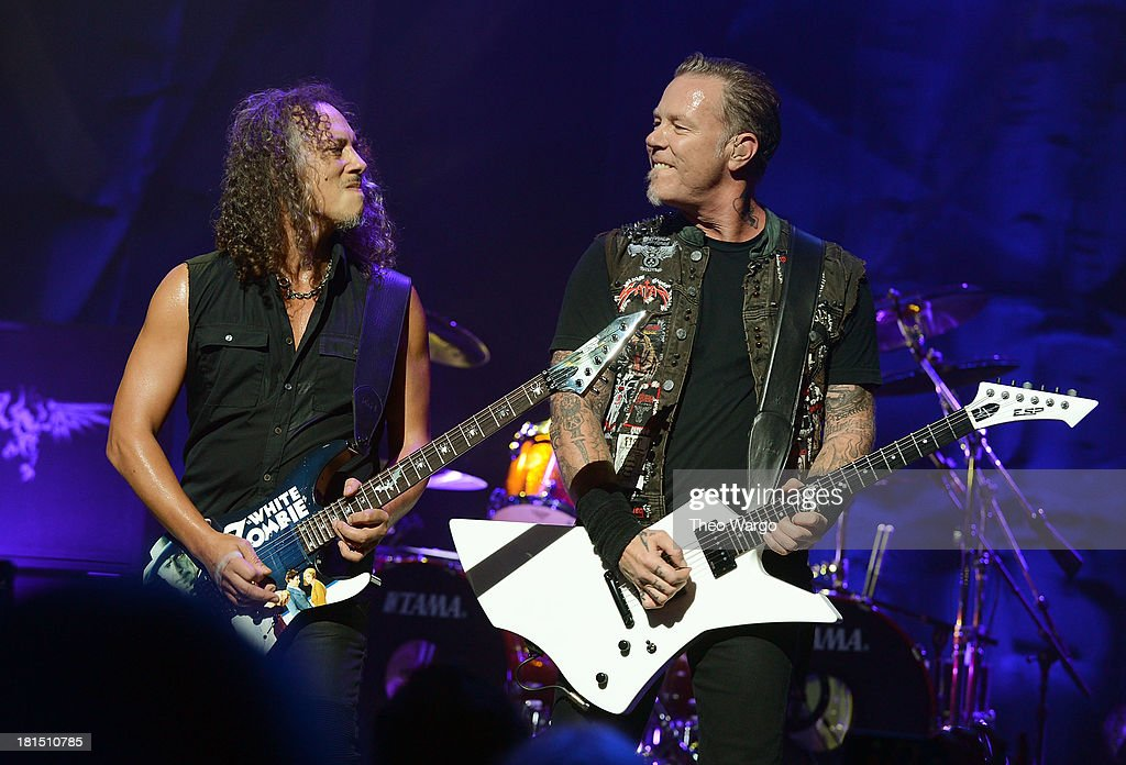 Kirk Hammett (L) and James Hetfield of Metallica perform private, exclusive concert for SiriusXM listeners at The Apollo Theater on September 21, 2013 in New York City.