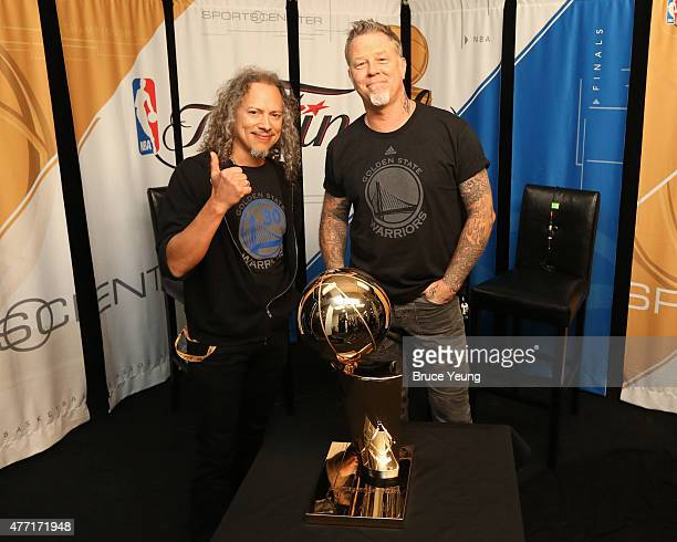Kirk Hammett and James Hetfield of Metallica pose for a portrait prior to Game Five of the 2015 NBA Finals on June 14 2015 at Oracle Arena in Oakland...