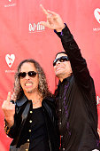 Kirk Hammett and Robert Trujillo of Metallica arrive at the 2014 MusiCares MAP Fund Benefit Concert at Club Nokia on May 12 2014 in Los Angeles...