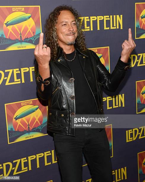 Kirk Hammett attends the premiere of 'Led Zeppelin Celebration Day' at Ziegfeld Theatre on October 9 2012 in New York City Led Zeppelin's John Paul...