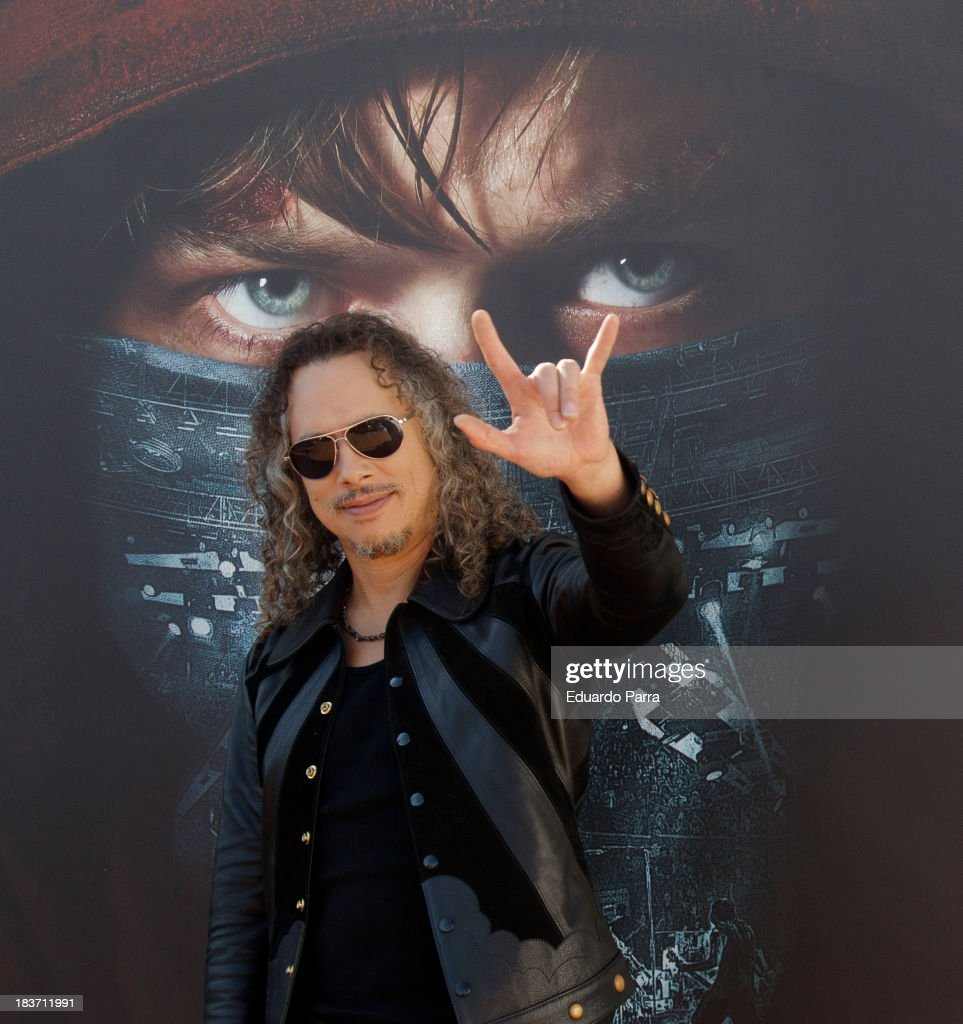 Kirk Hammett from of Metallica attends 'Metallica Through The Never' Madrid Photocall at ME hotel on October 9 2013 in Madrid Spain